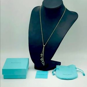 """Tiffany &Co Lariat """"T & Co"""" dangling from a 18"""""""